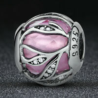 Nature's Radiance .925 Sterling Silver Pink & Clear CZ European Charm Bead