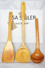 3pcs Bamboo Wood Kitchen Tools Spoons Spatula Wooden Cooking Mixing Utensils SET