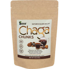 4oz Sayan Wild Siberian Dried / Dry Chaga Mushroom Chunks w/ Black Crust Organic