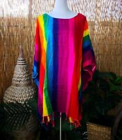 Plus Size Tie Dye Rainbow Tunic /Top With Tassels One Size 20-22-24-26