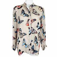 Catherine Malandrino Beige Multi Butterflies Women Blouse. Size Small. NWT.