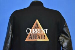 vintage 90s A CURRENT AFFAIR TV SHOW WOOL BLACK LEATHER LETTERMAN JACKET SMALL S