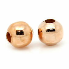 Lady Luck3:100x Iron Based Alloy Spacer Beads Round Rose Gold About 4mm