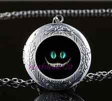 Cheshire cat Photo Glass Tibet Silver Chain Locket Pendant Necklace