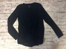 Isabel Maternity Sweater XXL Black Draped Front Long Sleeve Round Neckline New