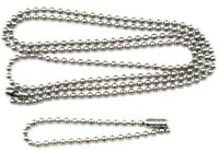"""30"""" & 5"""" Inch Stainless Steel 2.4 mm Ball Chain Military Dog Tag Necklace Set"""