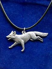 Running Fox Silver Pewter Pendant Necklace with Gift Pouch, Red Name Surname