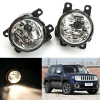 2X Front Bumper Fog Light Driving Lamp For Jeep Renegade 2015 16 17 2018 w/Bulb