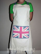 Union Jack Apron Pink & White Cotton