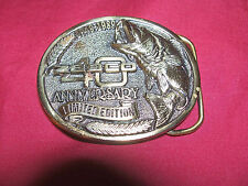 Old Zebco 40 Anniversary Belt Buckle Brass Fishing Collector Collectible Vintage