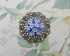 BLUE FORGET-ME-NOT POSY BROOCH Friendship Pin Masonic Lapel Pin HAND PAINTED