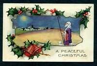 CHRISTMAS EMB POSTCARD SHEPHERD WITH HOLLY WHITNEY MADE