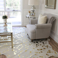 GOLD SPOT SPOTTED DEVORE METALLIC CREAM WHITE COWHIDE FLOOR RUG LARGE 4+sq
