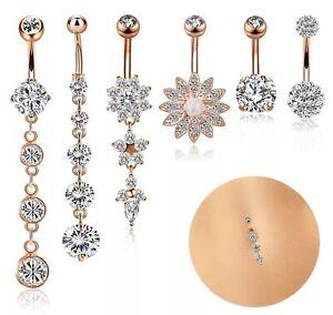 rose gold belly bar diamanté crystal dangle opal dangly flower daisy drop down