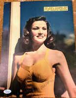 Gene Tierney Jsa Coa Hand Signed 11x13 Vintage 40`s Photo Autograph Authentic