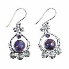 Women Silver plated Earrings Sea Blue Vintage Topaz Dangle Drop Hook