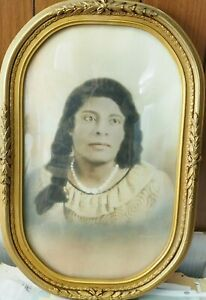 """Antique Hand Colored Painted Ancestral Black Woman Photo in Frame 18"""" x 11.75"""""""