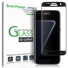 Samsung Galaxy S7 Edge amFilm Full Cover Tempered Glass Screen Protector (Black)