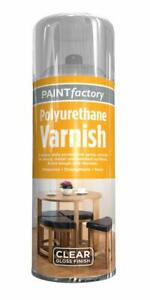 400ml Paint Factory Polyurethane Clear Gloss Varnish Wood Metal Multi Use Spray