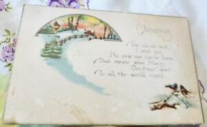 Antique Christmas Wish Poem Postcard Winter Scene Birds