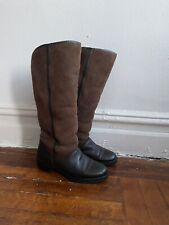 Vintage Womens Brown Leather Sheep Sheepskin Fur Winter Long Boots Size 6