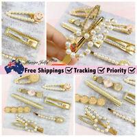 Leopard Pearl Gold Women Resin Hair Pin Snap Barrette Girl Hair Clips 8 PCS Set