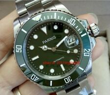 Parnis Automatic watch Japan miyota 8215 Movement ceramic bezel green dial