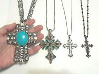 "Large 4"" Cross pendant with turquoise and stones. PD silver tone chain necklaces"
