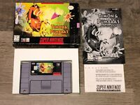 Timon & Pumbaa's Jungle Games Super Nintendo Snes Complete CIB Authentic