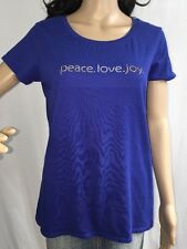 Peace Love Joy Holiday Shirt Large Royal Blue Silver Gold Rhinestones Christmas