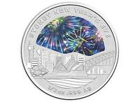 2018 $1 New Years Eve Fireworks Silver Coin
