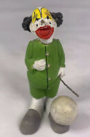 """RARE Vintage 3.5"""" Creepy Clown Figurine With Green Outfit And Black Hair"""