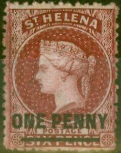 St Helena 1868 1d Lake SG7 Fine Very Lightly Mtd Mint