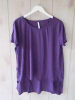 NWOT $29.95 Fabletics Vibe Tee Purple Slub Knit Swing Oversized Hi Lo Tunic S