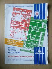 1992 SMITHS CRISPS INTL SHIELD- ENGLAND v ITALY (English School's Football Ass.)