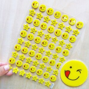 BAK-018 3D SMILING STAR FACE Reward Sticker Decal Label Children Kid Teacher UK
