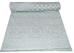 White Kantha Quilt Floral Gudri Handmade Twin Bedspreads Throw Ralli