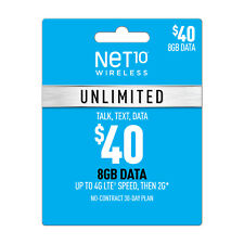 PRELOADED🔥Net 10 SIM CARD $40.00 Plan  On *AT&T Network* ONE MONTH INCLUDED