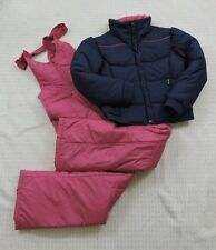 Skyr VINTAGE Women Ski Snowboarding Pink Blue Jacket Bib Pants Set Size M