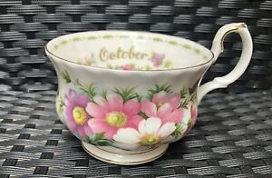 Royal Albert October teacup with Cosmos, Flowers of the month series, Orphan cup