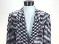 PENDLETON Blazer Jacket Wool Houndstooth Navy Red White USA Made Women's 22W