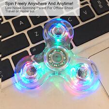 Crystal Led Light Fidget Spinner Rainbow EDC Hand Toy Stress Finger Spinners