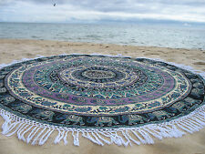 Round Mandala Indian Bohemian Purple Elephant Tapestry Beach Picnic Throw Rug