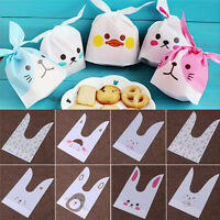 50pcs Cute New Rabbit Ear Bakery Cookie Candy Bag Plastic White Gift Bags