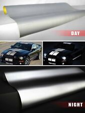 Silver / White reflective vinyl film 3ft x 4ft adhesive DIY VViViD car wrap roll
