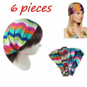 6 pieces Zigzag Striped Bandana Turban Head Wrap Headband Band Workout Yoga Lot