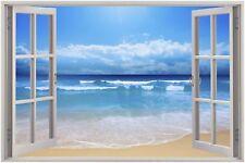 Cheap 3D Window view Exotic Beach Wall Sticker Film Mural Art Decal 93