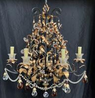 Vintage Crystal Beaded Gold Gilt Tole Glass Fruit Chandelier Maison Bagues Style