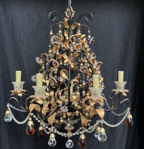 Vintage Crystal Beaded Gold Gilt Tole Glass Fruit Chandelier