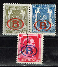 Belgium Coat of Arms and King Leopold lll overprinted red/blue stamps 1940